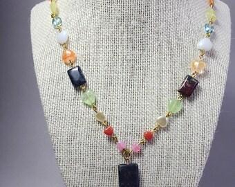 Czech necklace, heart bead necklace, heart necklace, multicolor necklace, glass necklace, colorful necklace, colourful necklace