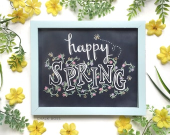 Happy Spring Print - Chalk Print - Spring Print - Chalkboard Art - Chalk Art