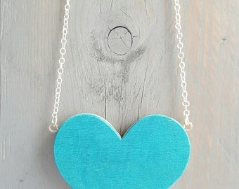 Recycled Skateboard Heart Necklace, Large