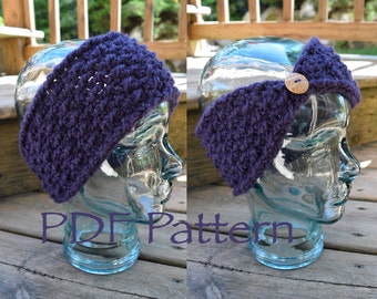 CROCHET PATTERN - The Textured Warmer - Headband - With Button - (PDF File)