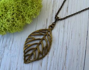 Antique Brass Leaf Necklace