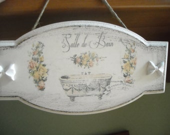 Plate for bathroom in shabby style OOAK