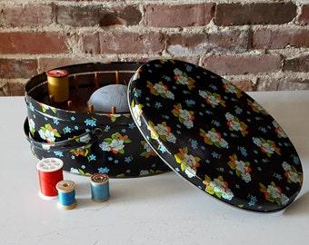 Vintage Black Floral Sewing Basket, Metal, Organizer with Pin Cushion & Thread Holder