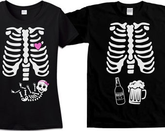 Matching Halloween Couples Costume Pregnant Skeleton Shirt Maternity Skeleton T Shirt Halloween Pregnancy Announcement Mens Ladies TM-34-36