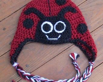 Ladybug Crocheted Hat- Ready to Ship!!