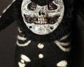 Mr. Bones OOAK plushie doll skull toy art undead soft spirit magic creepy felt cute skeleton gift ghost soul fur kawaii teeth scary dark hat