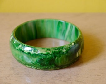 Marbled Green Bakelite Bangle