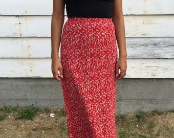 90's Red Floral Maxi Dress. Rayon Floral Long Skirt. Medium.