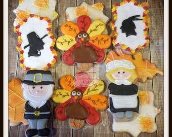 Thanksgiving Decorated Sugar Cookies  -1 dozen