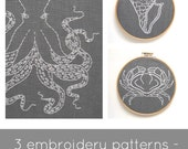 PDF embroidery pattern set, ocean theme embroidery patterns, hand embroidery pattern, crab pattern, shell pattern, octopus pattern