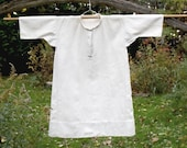 Antique French Heavy Linen Chemise, Handmade Vintage Nightgown, Homespun Linen Nightgown