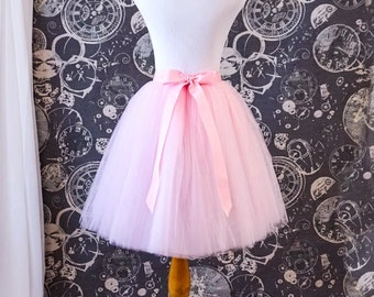 Pink Tulle Skirt - Adult Knee Length Tutu with Ribbon Waist and Ties - Custom Made to Your Measurements