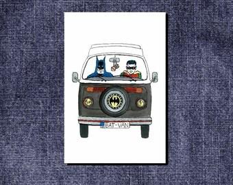 Bat-Van.  Batman and Robin in their trusted Bat Camper.  Greetings card