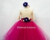 Flower girl dress Christmas tutu dress sleeve tutu dress bridesmaid dress princess dress crochet top tulle dress dark fuchsia dress