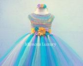 My Little Pony Birthday Tutu Dress Flower girl dress tutu dress  princess dress crochet top tulle dress hand knit top tutu halloween