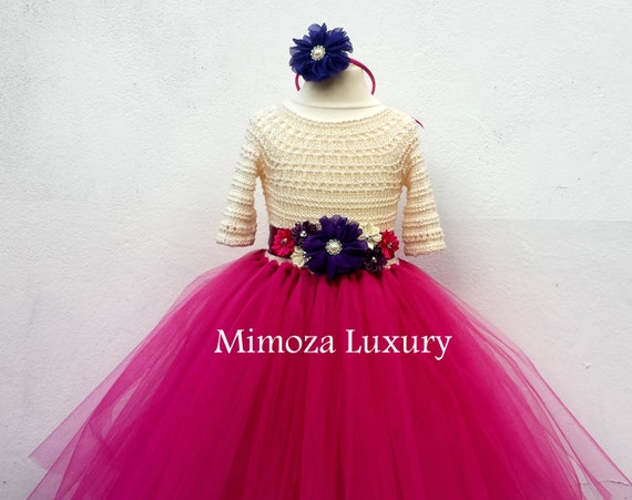 Flower girl dress, Christmas tutu dress, sleeve tutu dress, bridesmaid dress princess dress, crochet top tulle dress dark fuchsia dress