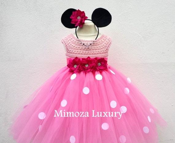 Minnie Mouse Birthday Dress, minnie mouse princess outfit, 1st birthday dress,2nd birthday dress, minnie mouse headband ears,disney princess