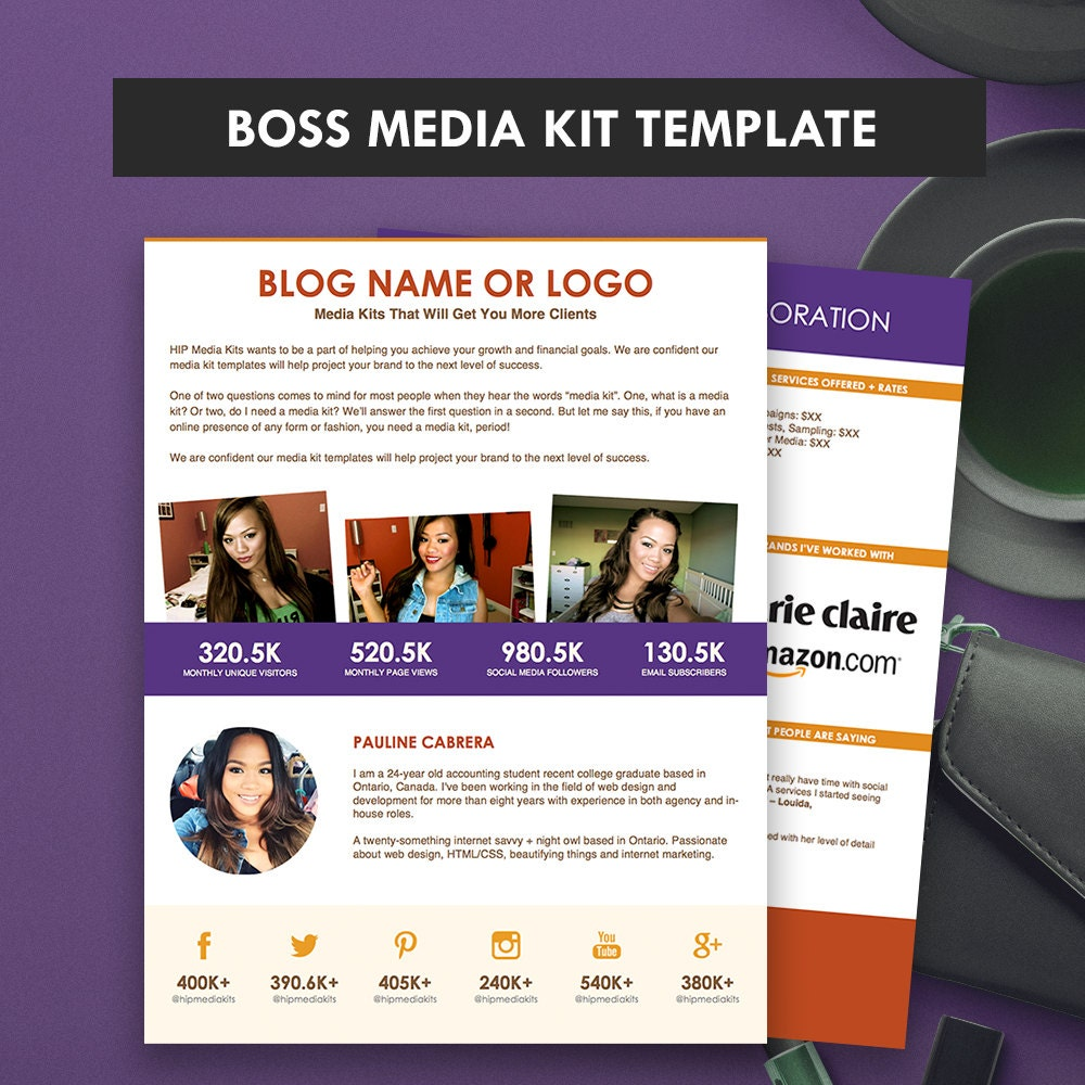 Boss media kit template ad rate sheet press kit pitch for Advertising media kit template