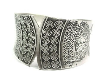 Handmade Sterling Silver Tribal Ethnic Boho Wide Statement Cuff Bracelet, Engraved Ethnic Deterioration Gypsy Silver Bangle, gift for her