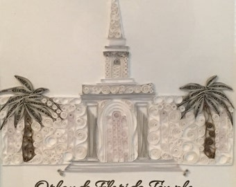 Custom Framed Quilled LDS Temple