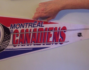 Vintage 1989 Trench NHL Montreal Canadiens felt hockey large pennant banner