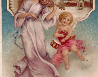 Antique Christmas postcard two angels digital download printable image