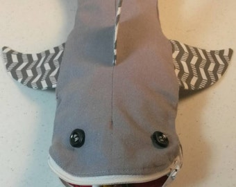Personalized Shark Pencil Case Gray