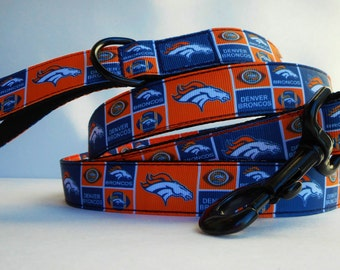 Denver Broncos dog leash, Colorado sports & flags, tough leashes, traffic lead