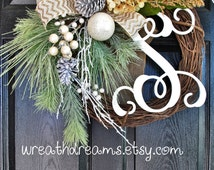 Winter Evergreens, Berries & Pine Cones Christmas Grapevine Wreath. Christmas Wreath. Winter Wreath. Holiday Wreath. Christmas Gift.