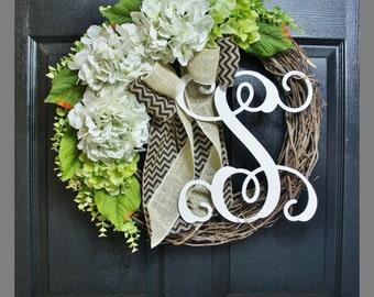White Hydrangea Wreath. Burlap Wreath. Year Round Wreath. Spring Wreath. Summer Wreath. Monogram Wreath. Door Wreath