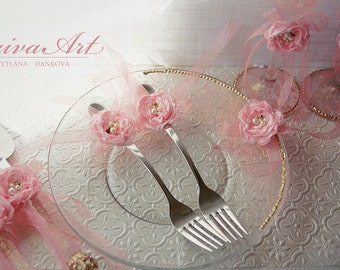 Wedding Forks Wedding Fork Set Pink and Gold Wedding Forks