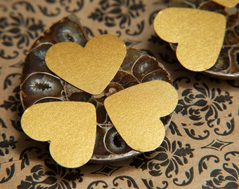 Old Gold heart stickers. Shiny red Envelope seals, gift bag stickers, gift box seal, favour bags, wedding labels. Gold valentines stickers.