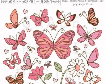 Butterfly Clipart, Butterfly and Flower Clipart, Butterflies, Vector Clipart, Small Commercial Use Clipart, Pink Butterfly, Daisy Clipart