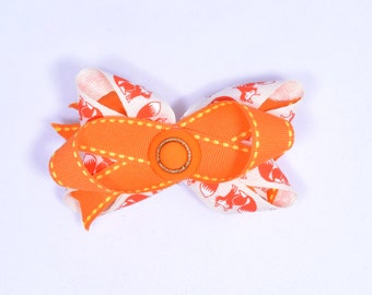 Orange and White Fox Hair Bow With Black Barrette and Orange Button Center