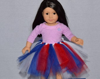 Red, White, and Blue Patriotic Doll Tutu Skirt for 18 inch doll