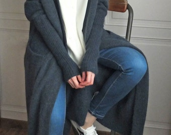 Navy loose-fit mohair open-front knit cardigan  (other colours available)