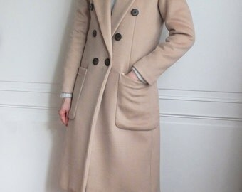 Light camel double-breasted wool coat{5% cashmere}