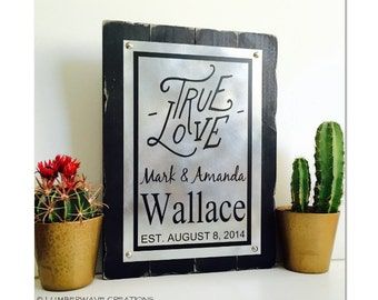 True Love Sign Wedding Gifts For Couple Personalized Wedding or Anniversary Established Sign Rustic And Distressed Metal Plaque 14x10