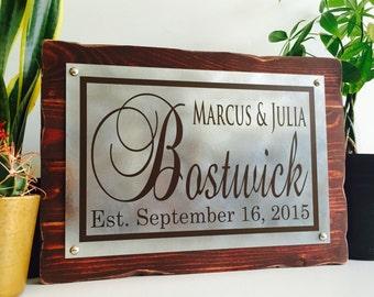 Wedding Established Sign Last Name Sign Family Established Sign Rustic Metal And Rustic Wood Plaque 14x10