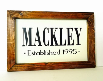 Personalized Sign for Home Family Established Sign Rustic Wood Family Name Sign Established Sign
