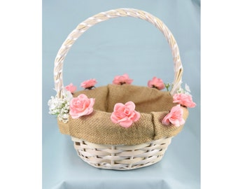 White Wicker Flower Girl Basket - White or Pink Roses and Burlap Lining