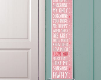 You Are My Sunshine - Personalized Growth Chart, Wall Art
