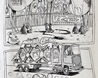 Cow fight - Biro sketchbook cartoon