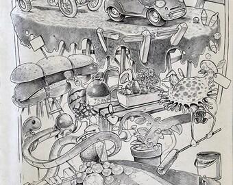 Melted road - Biro sketchbook cartoon