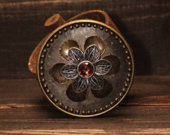 Fancy Antiqued Brass and Silver Flower Belt Buckle - Beaded Chain Accents