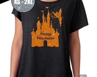 GLITTER Disney Halloween Shirt Castle Home Tri Blend Dolman Tee 67-00-60 - Vintage Black - orange Glitter