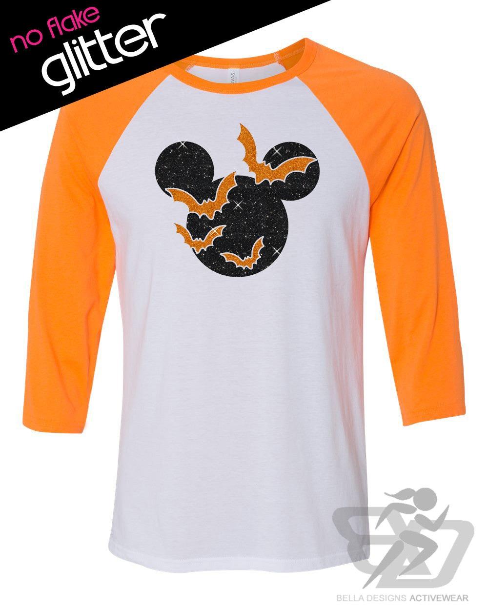 Disney Halloween Tee Shirt Bats Glitter Custom 3 4 Length