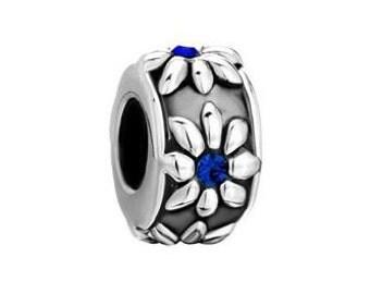 Sapphire Bead, Flower Bead, Large Hole Bead, European Bead, Charm Bead, Spacer Bead, Charm Bracelet, European Charm, Big Hole Bead, Blue