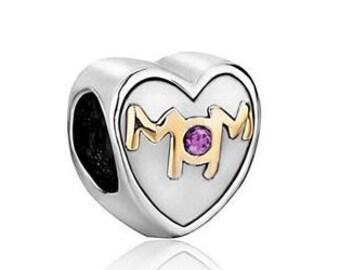 Mom Bead, Mother Charm, Large Hole Bead, European Bead, Charm Bead, Add a Bead, Charm Bracelet, European Charm, Big Hole Bead, Pink