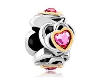Pink Heart Charm, Heart Bead, Bracelet Charm Beads, European Charms, Large Hole Bead, European Bracelet, Beads for Charm Bracelets
